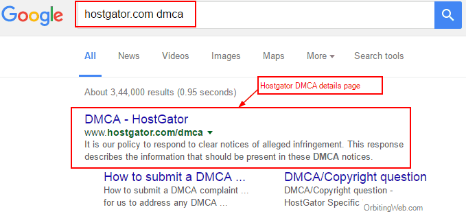 hostgator dmca search